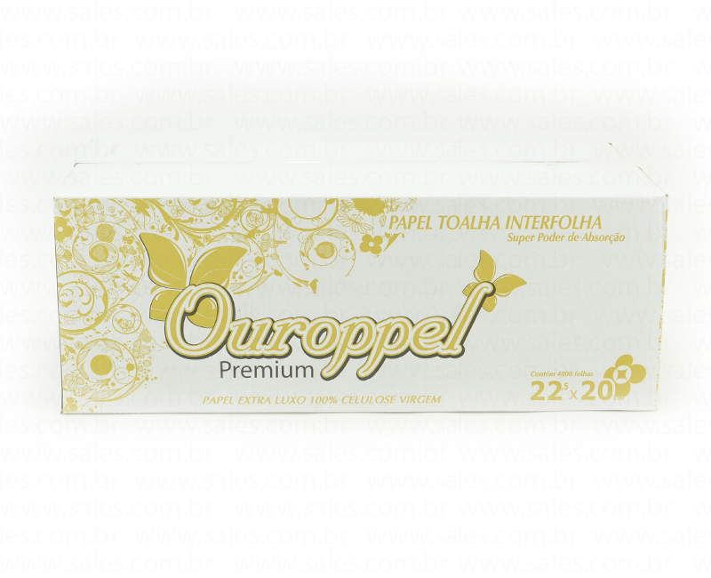 Papel Toalha Interfolha 2 Dobras 22,5×20 com 4800 folhas